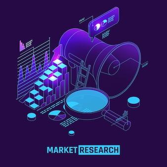Pesquisa de mercado com ilustração de megafone virtual