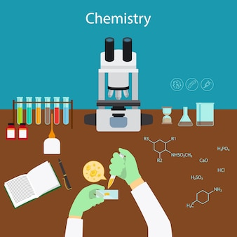 Pesquisa de química em laboratório