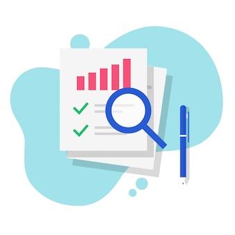 Pesquisa de relatório de auditoria de dados fiscais de vendas financeiro vector plana dos desenhos animados