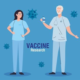 Pesquisa de vacina médica, casal de médicos com frasco em desenvolvimento da vacina de coronavírus covid19.