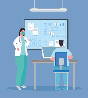 Pesquisa de vacina médica, casal de médicos em laboratório para ilustração de estudo científico de prevenção de vírus