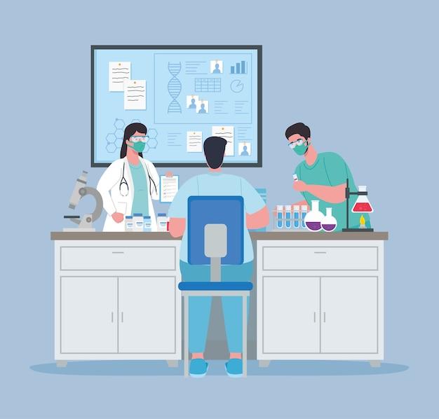 Pesquisa de vacina médica, grupo de médicos em laboratório para ilustração de estudo científico de prevenção de vírus