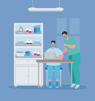 Pesquisa de vacina médica, médicos homens em laboratório para ilustração de estudo científico de prevenção de vírus