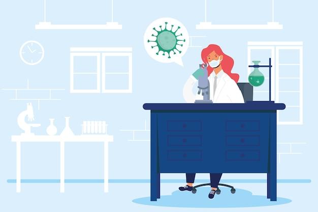 Pesquisa de vacinas com design de ilustração vetorial de personagem médica