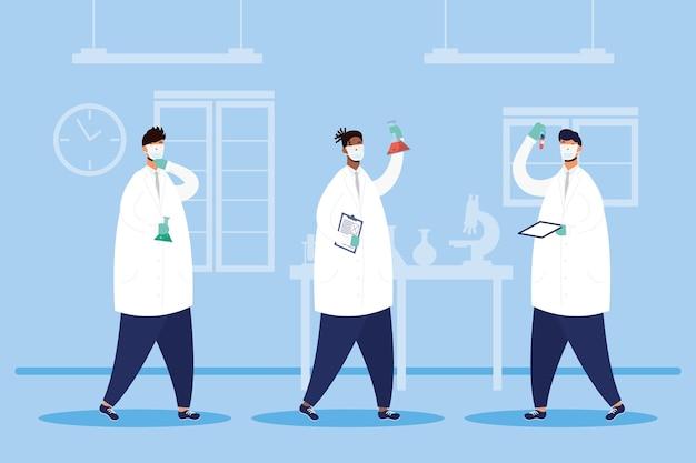 Pesquisa de vacinas com design de ilustração vetorial de personagens da equipe de médicos do sexo masculino