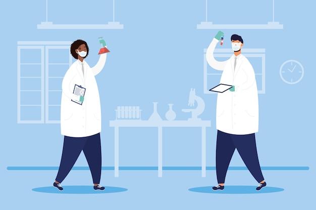Pesquisa de vacinas com design de ilustração vetorial de personagens de médicos casal inter-racial