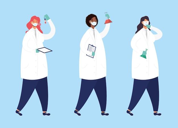 Pesquisa de vacinas com personagens femininos da equipe médica desenho de ilustração vetorial