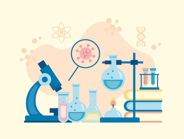 Pesquisa de vacinas de ferramentas de laboratório de microscópio e lupa