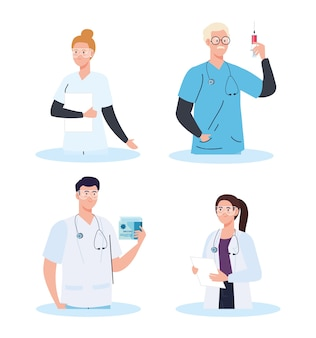 Pesquisa de vacinas médicas, grupo de médicos em desenvolvimento da vacina contra o coronavírus covid19.