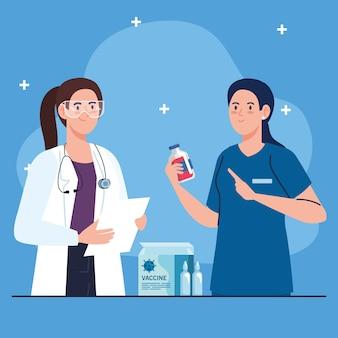 Pesquisa de vacinas médicas, mulheres médicas em desenvolvimento da vacina contra o coronavírus covid19.