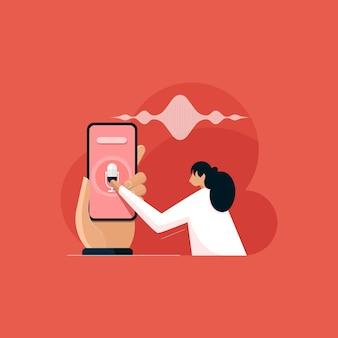 Pesquisa de voz otimização de marketing digital e de voz seo e pesquisa de palavras-chave com marketing de conteúdo de comandos de voz