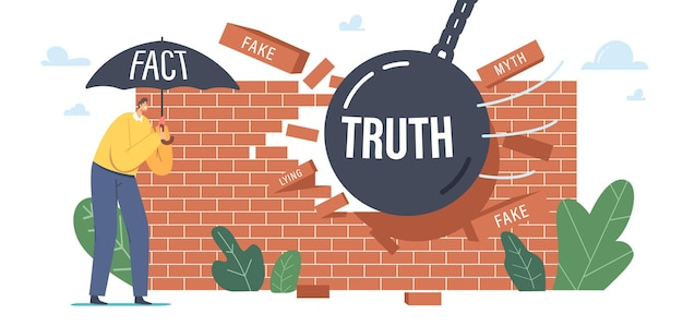 Pesquisa e verificação de autenticidade de ficção, conceito de exatidão de informações de mitos e fatos. . caráter masculino fica sob o guarda-chuva de fato, bola pesada demolindo a parede de notícias falsas. ilustração em vetor de desenho animado