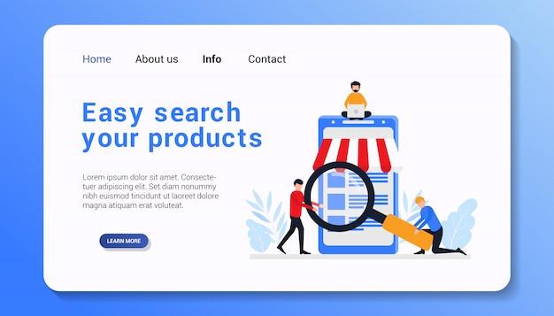 Pesquisa fácil ilustração de modelo de página de destino de produtos