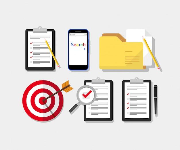 Pesquisa, lista de verificação e conjunto de pastas