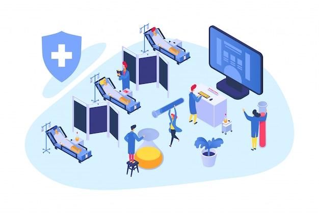 Pesquisa médica isométrica, ilustração. trabalho em equipe do hospital com paciente, desenvolvimento da saúde. farmácia cientista
