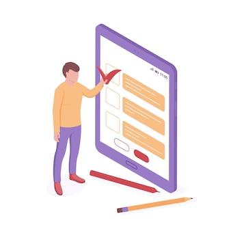 Pesquisa on-line e ilustração isométrica de teste.