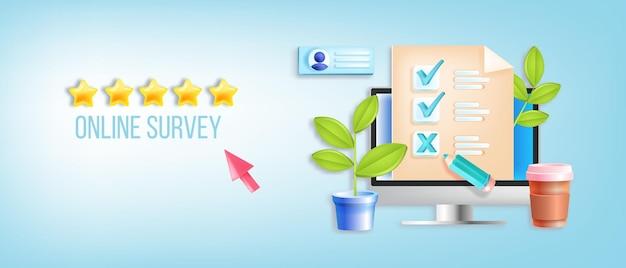 Pesquisa online, avaliação de qualidade, questionário de checklist digital, banner web de feedback na internet.