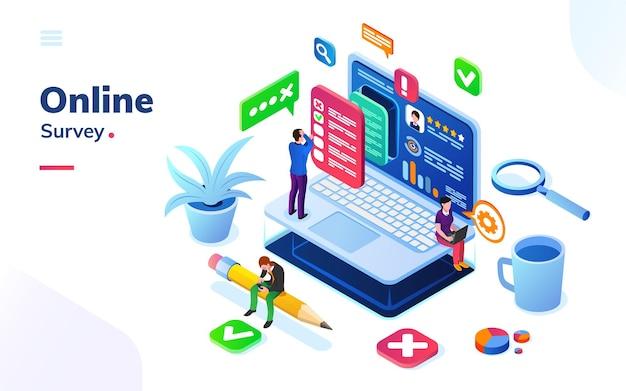 Pesquisa ou revisão, feedback social online ou votação, exame no escritório isométrico.