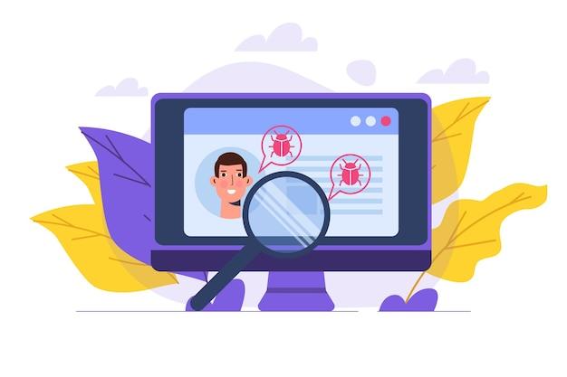 Pesquisa ou verificação de vulnerabilidade e bugs, encontrando o conceito de malware. ilustração vetorial.