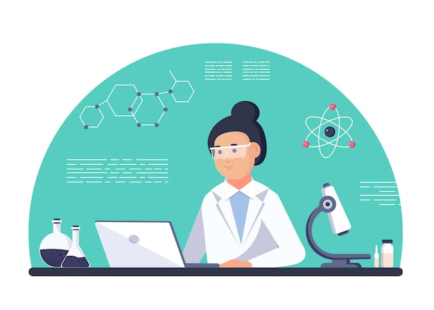 Pesquisador de laboratório - mulher cientista isolada vestindo jaleco com vidro químico