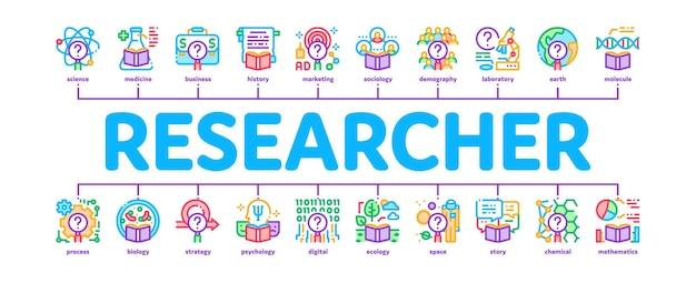 Pesquisador de negócios mínimo infográfico web banner vetor. laboratório de química e pesquisador de biologia, sociologia e demografia ilustração colorida