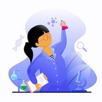 Pesquisador feminino em laboratório detém uma ilustração do tubo de vidro