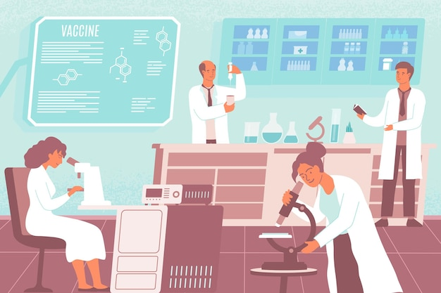 Pesquisadores de composição plana de desenvolvimento de vacinas criam e conduzem experimentos para criar uma vacina