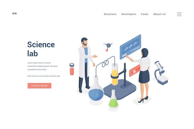 Pesquisadores modernos trabalhando no laboratório de ciências. ilustração
