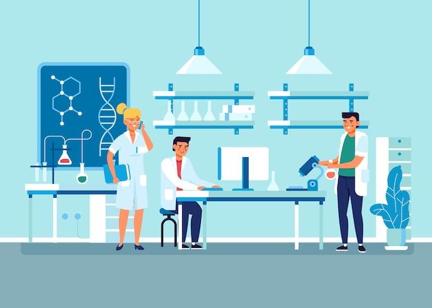 Pesquisadores que trabalham em um laboratório de ciências