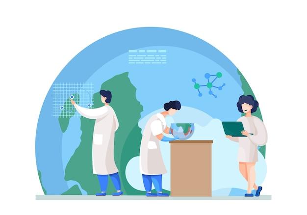 Pesquisadores químicos com laptop analisam indicadores