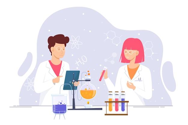 Pesquisadores trabalhando juntos no laboratório de ciências