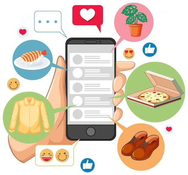 Pesquisando em smartphone com ícone procurando personagem de desenho animado, isolada no fundo branco