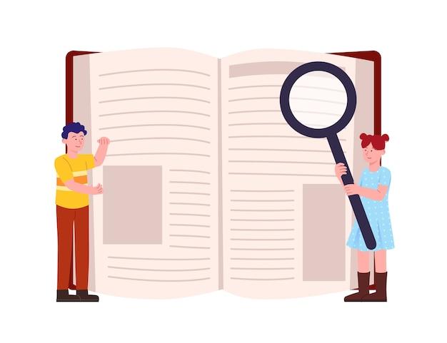 Pesquisando livro com lupa para crianças conceito de ilustração