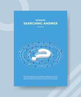 Pesquisando o conceito de resposta para modelo de folheto para impressão com estilo isométrico