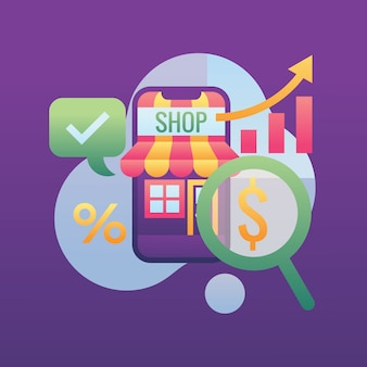 Pesquisando o ícone de dinheiro crescente de negócios