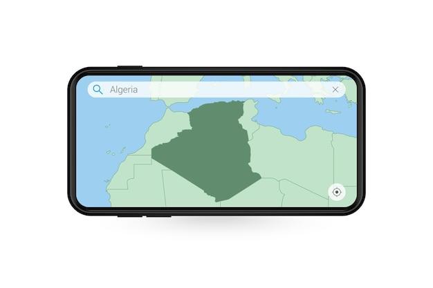 Pesquisando o mapa da argélia no aplicativo de mapa do smartphone. mapa da argélia no celular.