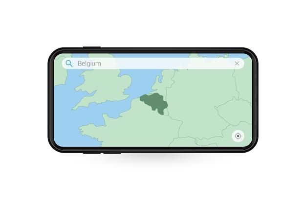 Pesquisando o mapa da bélgica no aplicativo de mapa do smartphone. mapa da bélgica no telefone celular.