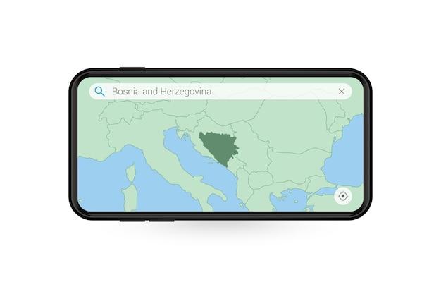 Pesquisando o mapa da bósnia e herzegovina no aplicativo de mapa do smartphone