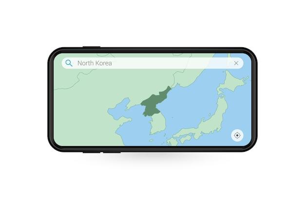 Pesquisando o mapa da coreia do norte no aplicativo de mapa do smartphone. mapa da coreia do norte no telefone celular.