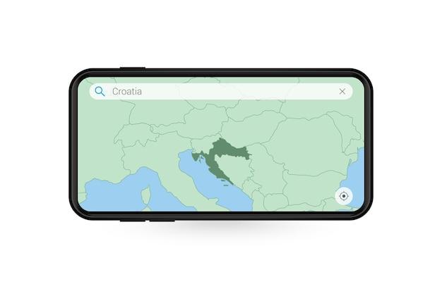 Pesquisando o mapa da croácia no aplicativo de mapa do smartphone. mapa da croácia no celular.