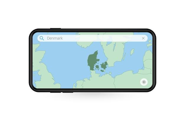 Pesquisando o mapa da dinamarca no aplicativo de mapa do smartphone mapa da dinamarca no telefone celular