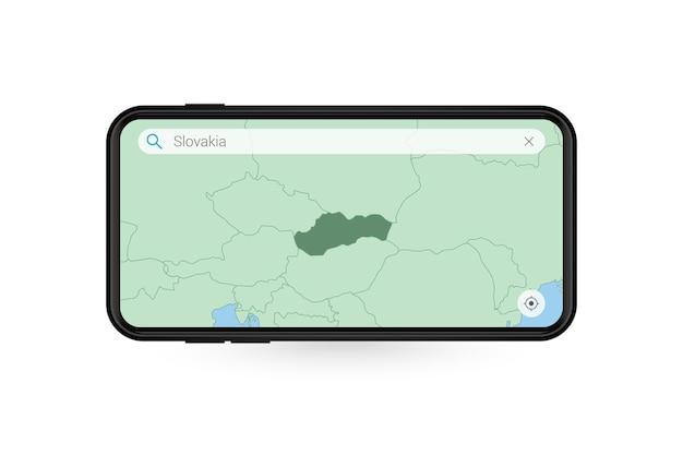 Pesquisando o mapa da eslováquia no aplicativo de mapa do smartphone. mapa da eslováquia no celular.
