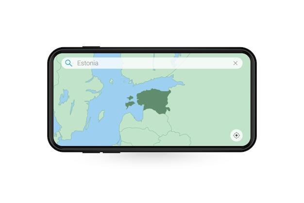 Pesquisando o mapa da estônia no aplicativo de mapa do smartphone. mapa da estônia no celular.