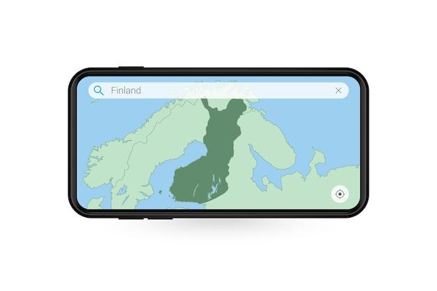 Pesquisando o mapa da finlândia no aplicativo de mapa do smartphone. mapa da finlândia no celular.