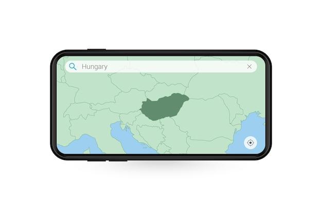 Pesquisando o mapa da hungria no aplicativo de mapa do smartphone. mapa da hungria no celular.
