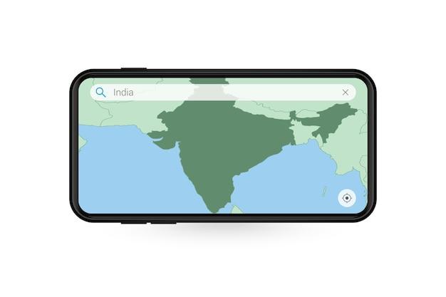 Pesquisando o mapa da índia no aplicativo de mapa do smartphone. mapa da índia no telefone celular.
