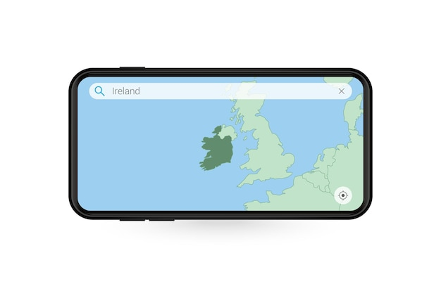 Pesquisando o mapa da irlanda no aplicativo de mapa do smartphone. mapa da irlanda no celular.