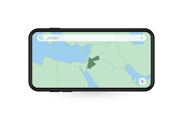 Pesquisando o mapa da jordânia no aplicativo de mapa do smartphone. mapa da jordânia no celular.