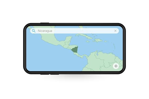 Pesquisando o mapa da nicarágua no aplicativo de mapa do smartphone. mapa da nicarágua no celular.