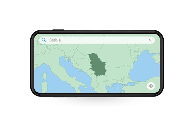 Pesquisando o mapa da sérvia no aplicativo de mapa do smartphone. mapa da sérvia no celular.